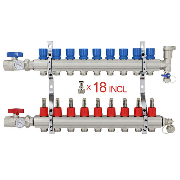 "9 Branch Stainless Steel PEX Heating Manifold w/1/2"" PEX adapters"