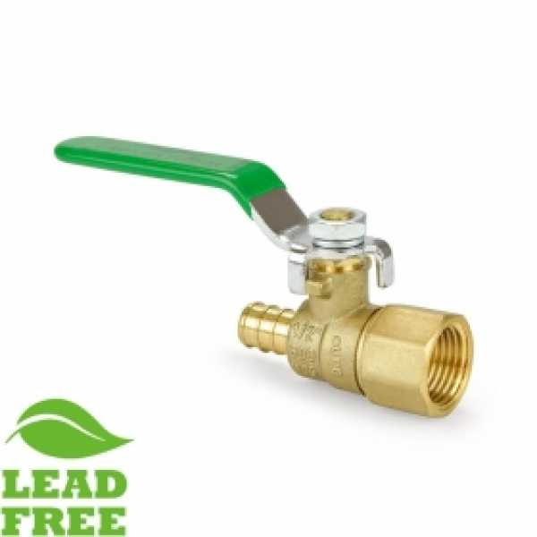 "1/2"" PEX x NPT Threaded Brass Ball Valve, Full Port (Lead-Free)"