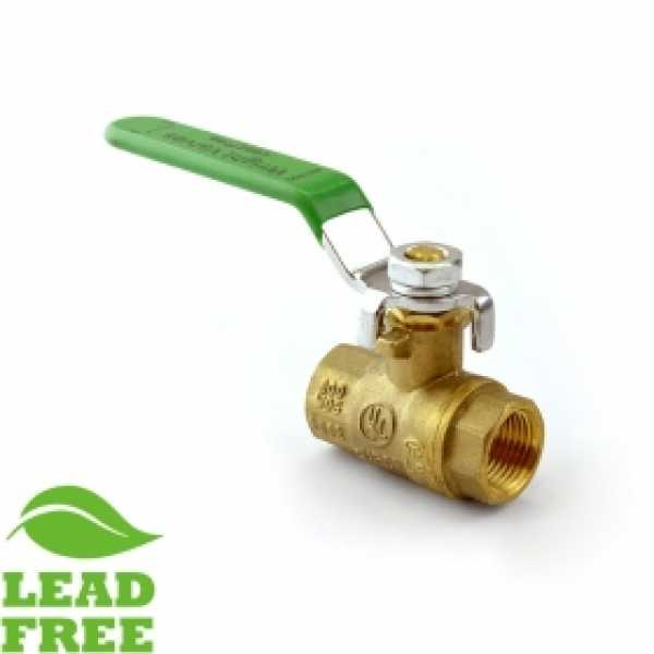 "3/8"" NPT Threaded Brass Ball Valve, Full Port (Lead-Free)"