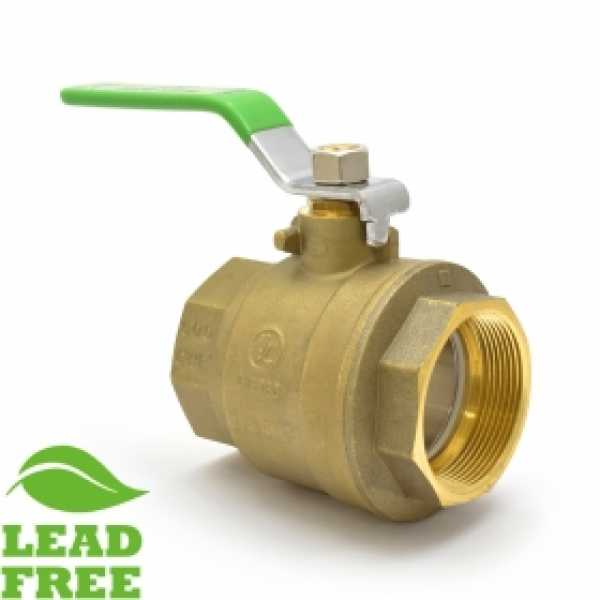 "2"" NPT Threaded Brass Ball Valve, Full Port (Lead-Free)"