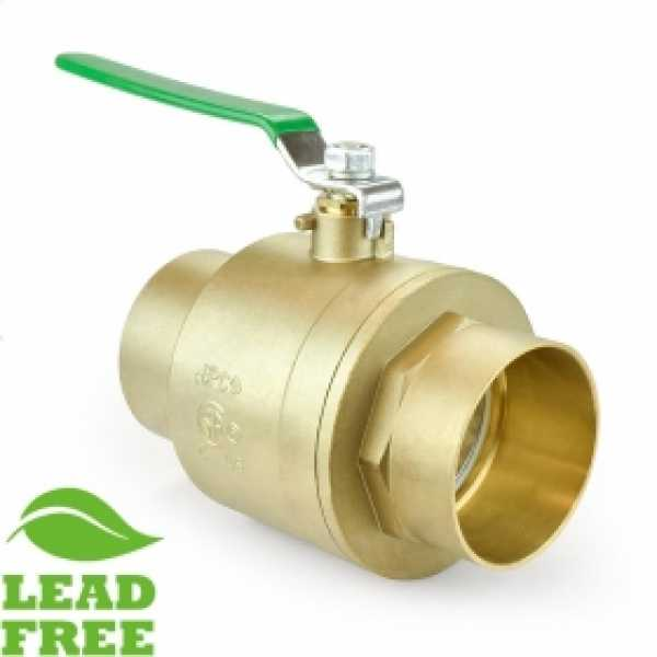 "4"" Sweat (Solder) Brass Ball Valve, Full Port (Lead-Free)"
