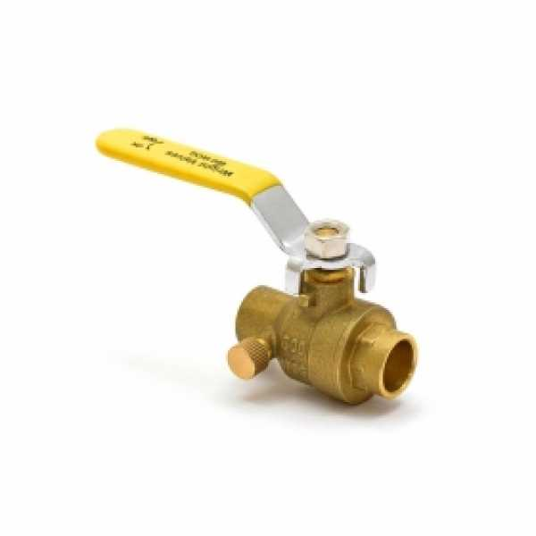 "1/2"" Sweat (Solder) Brass Ball Valve w/ Waste, Full Port"