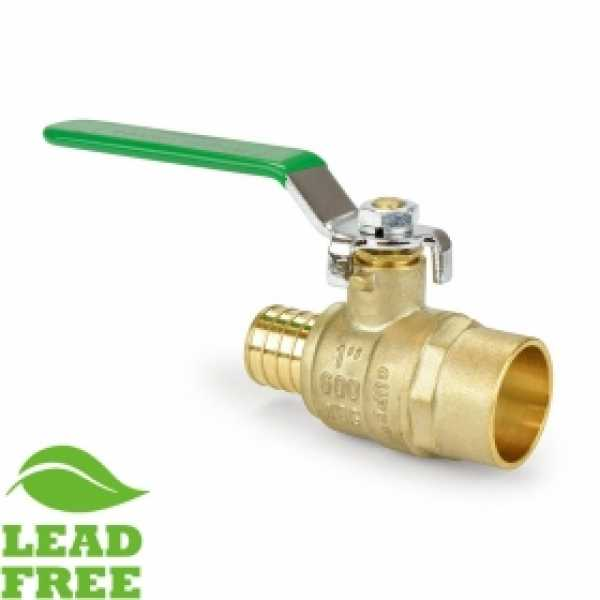 "1"" PEX x Sweat (Solder) Brass Ball Valve, Full Port (Lead-Free)"