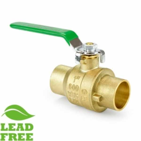 "1"" Sweat (Solder) Brass Ball Valve, Full Port (Lead-Free)"
