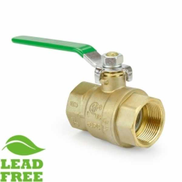 "1-1/4"" FIP x FIP Threaded Brass Ball Valve, Full Port (Lead-Free)"