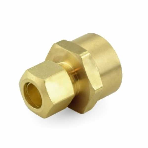 """3/8"""" OD x 1/2"""" FIP Threaded Compression Adapter, Lead-Free (Bag of 25)"""