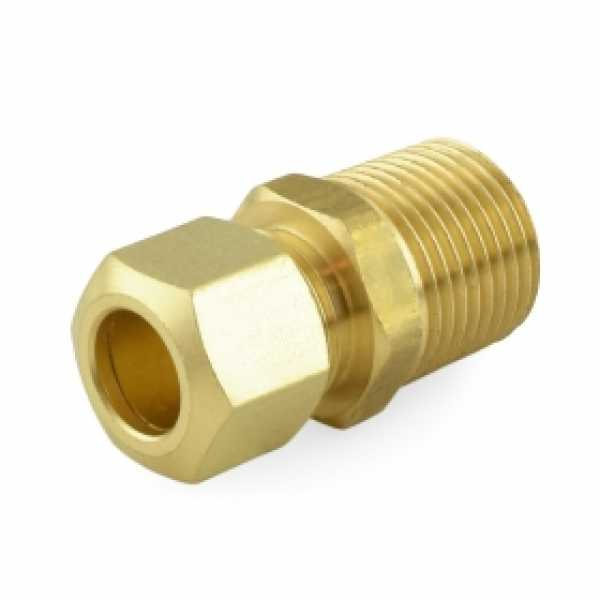 """3/8"""" OD x 3/8"""" MIP Threaded Compression Adapter, Lead-Free (Bag of 25)"""