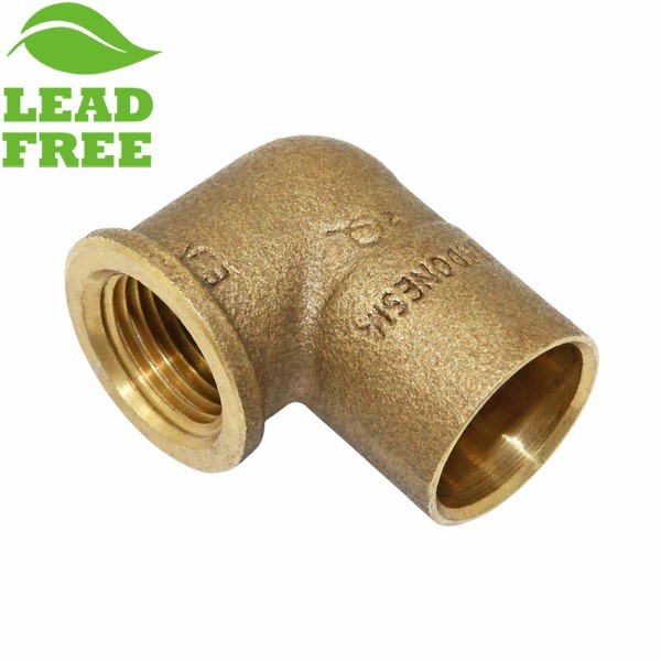 "Matco Norca CLF0403LF 3/4"" C x 1/2"" Female Thread Cast Brass Adapter Red Elbow, Lead Free"