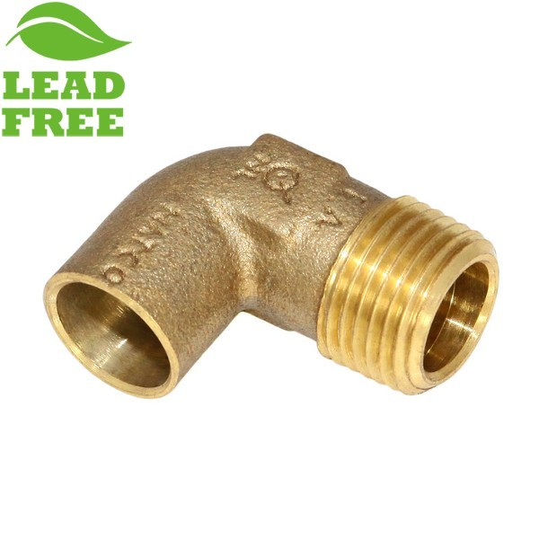 "1/2"" Sweat x 1/2"" MPT Cast Brass Elbow, Lead-Free"
