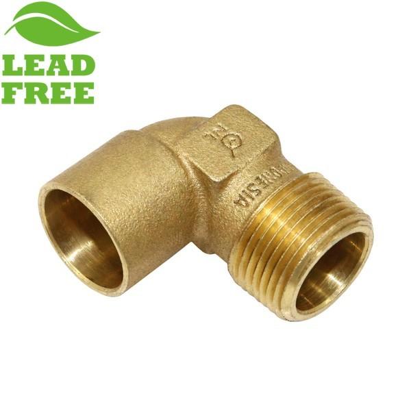 """3/4"""" Sweat x 3/4"""" MPT Cast Brass Elbow, Lead-Free"""