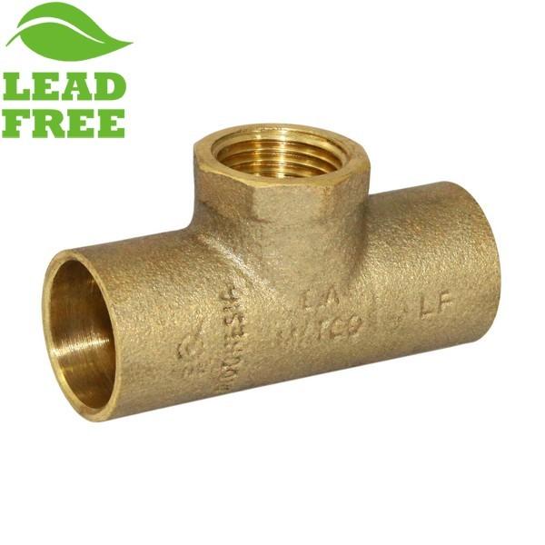 """3/4"""" x 3/4"""" x 1/2"""" (C x C x FPT) Cast Brass Tee, Lead-Free"""