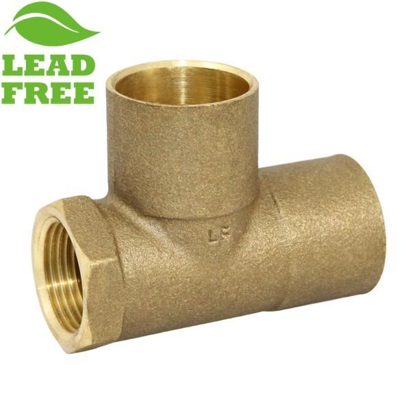 """1"""" x 3/4"""" x 1"""" (C x FPT x C) Cast Brass Tee, Lead-Free"""