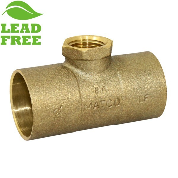 "Matco Norca CRTF0603LF 1-1/4"" C x 1-1/4"" C x 1/2"" Female Thread Cast Brass Adapter Tee, Lead Free"