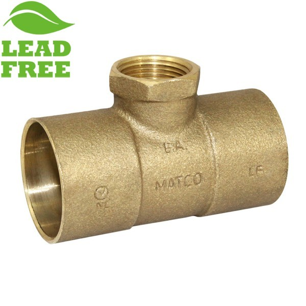 "Matco Norca CRTF0604LF 1-1/4"" C x 1-1/4"" C x 3/4"" Female Thread Cast Brass Adapter Tee, Lead Free"