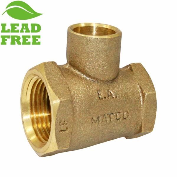 "Matco Norca CRTF040303LF 3/4"" FPT x 1/2"" FPT x 1/2"" C Cast Brass Adapter Tee, Lead Free"