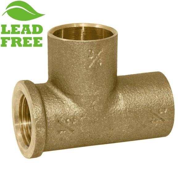 "Matco Norca CRTF0403T04LF 3/4"" C x 1/2"" Female Thread x 3/4"" C Cast Brass Adapter Tee, Lead Free"