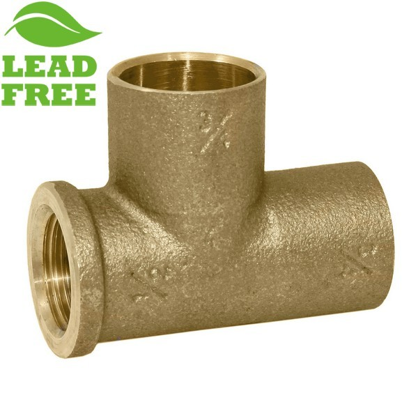 "Matco Norca CRTF0403T04LF 3/4"" C x 1/2"" Female Thread x 3/4"" C Cast Brass Adapter Tee, Lead Free"