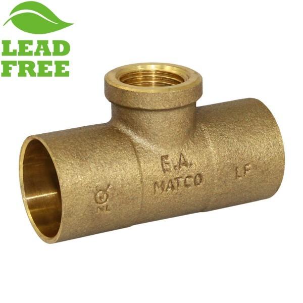 """1"""" x 1"""" x 1/2"""" (C x C x FPT) Cast Brass Tee, Lead-Free"""