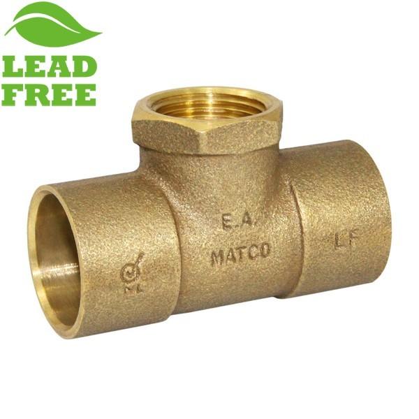 "Matco Norca CRTF0504LF 1"" C x 1"" C x 3/4"" Female Thread Cast Brass Adapter Tee, Lead Free"