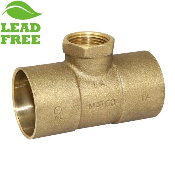 "Matco Norca CRTF0604LF 1-1/4"" C x 1-1/4"" C x 3/4"" Female Thread Cast Brass Adapter Tee, Lead Free"