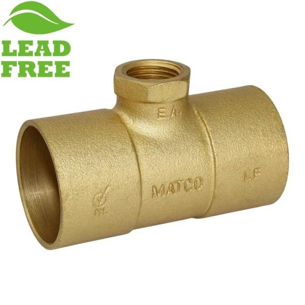 "Matco Norca CRTF0703LF 1-1/2"" C x 1-1/2"" C x 1/2"" Female Thread Cast Brass Adapter Tee, Lead Free"