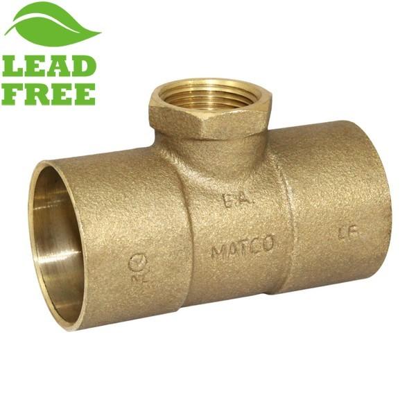 "Matco Norca CRTF0704LF 1-1/2"" C x 1-1/2"" C x 3/4"" Female Thread Cast Brass Adapter Tee, Lead Free"