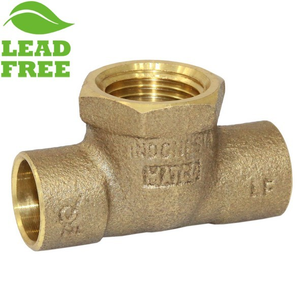 "Matco Norca CTF0303LF 1/2"" C x 1/2"" C x 1/2"" Female Thread Cast Brass Adapter Tee, Lead Free"