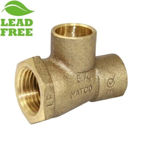 "Matco Norca CTF03T03LF 1/2"" C x 1/2"" Female Thread x 1/2"" C Cast Brass Adapter Tee, Lead Free"