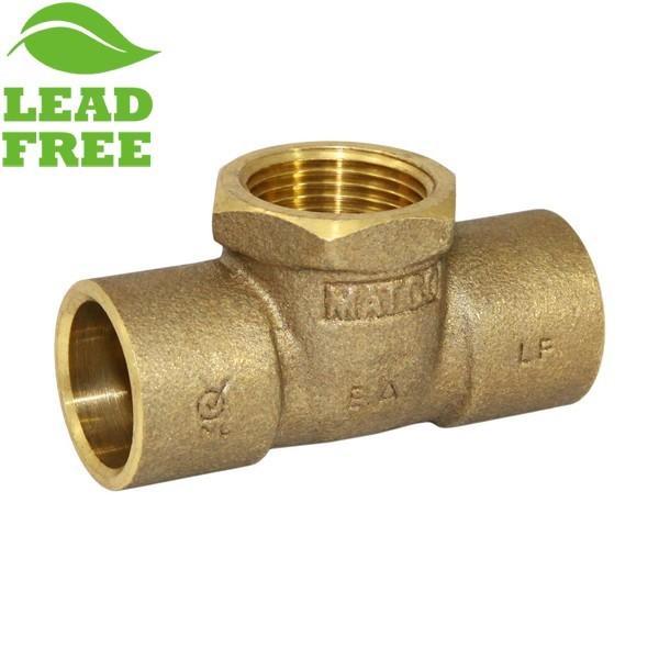 "Matco Norca CTF0404LF 3/4"" C x 3/4"" C x 3/4"" Female Thread Cast Brass Adapter Tee, Lead Free"