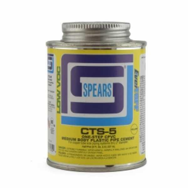 8 oz (1/2 pint) EverTUFF 1-Step CPVC CTS Cement w/ Dauber, Med Body, Fast Set, Yellow