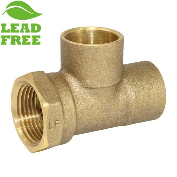 "Matco Norca CTF04T04LF 3/4"" C x 3/4"" Female Thread x 3/4"" C Cast Brass Adapter Tee, Lead Free"