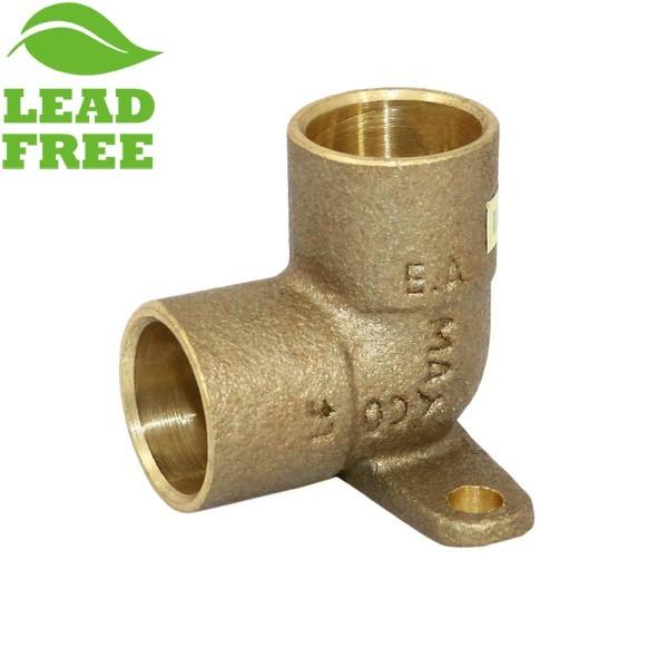 """1/2"""" Sweat Cast Brass Drop Ear Elbow, Lead-Free"""