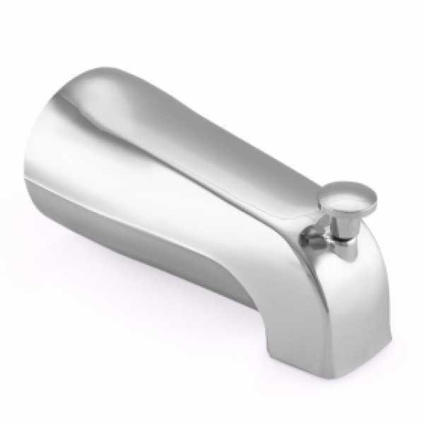 "5-1/4"" long, 1/2"" FIP Nose Connection Tub Spout w/ Shower Diverter, Chrome Plated"