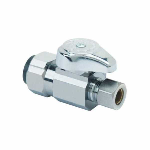 """1/2 Nom Push Connect x 3/8"""" OD Comp. 1/4 Turn Straight Stop (Chrome Plated)"""""""