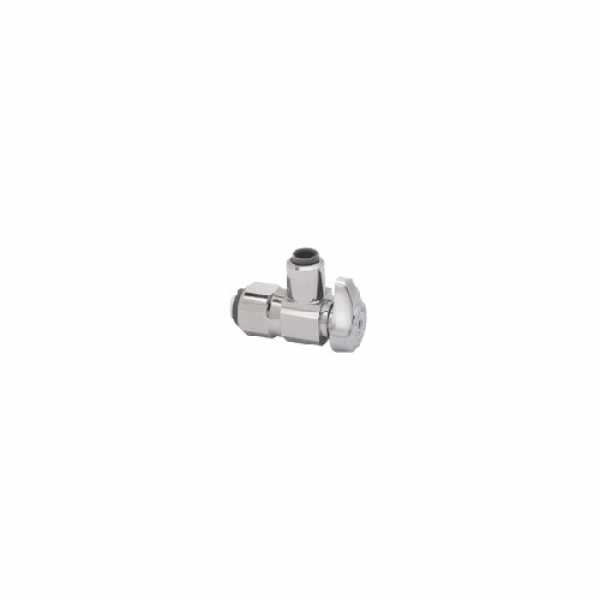 "1/2 Nom. PushConnect x 3/8"" OD Compr. 1/4 Turn Push Connect Angle Stop, Lead Free (Chrome Plated)"""