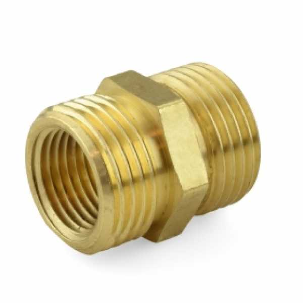 """3/4"""" MGH x 3/4"""" MGH (tapped 1/2"""" FIP) Brass Coupling, Lead-Free (Bag of 25)"""