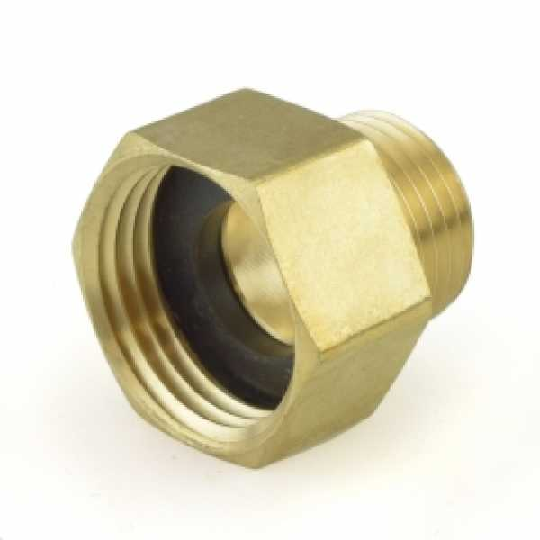 """3/4"""" FGH x 1/2"""" MIP (tapped 1/2"""" SWT, Drill-Through) Brass Adapter"""