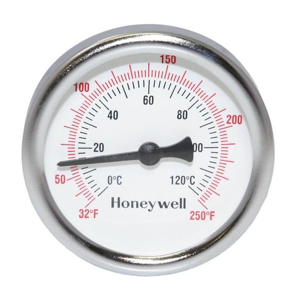 "Honeywell GT162 Thermometer, 1/2"" NPT, 2-1/2"" Dial, 32-250F, 1-1/2"" stem"