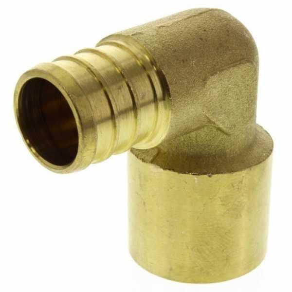 3/4' PEX x 3/4' Copper Pipe Brass Elbow (Lead Free)