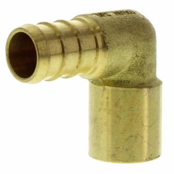 1/2' PEX x 3/4' Copper Fitting Brass Elbow (Lead Free)