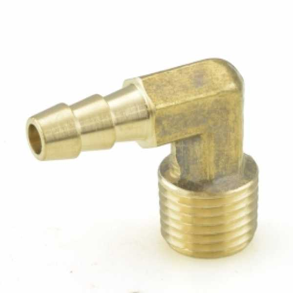 "1/4"" Hose Barb x 1/4"" Male Threaded Elbow, Brass"