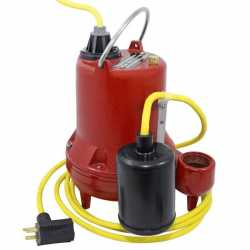 Automatic High Temperature Sump Pump (200F) w/ Wide Angle Float Switch, 25' cord, 4/10HP, 115V