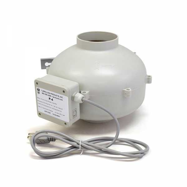 "Tjernlund TJ-P-4 Plastic High Pressure 4"""" Line Duct Booster Fan, 200 cfm"