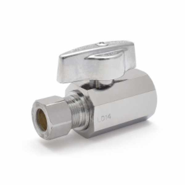 "1/2"" FIP x 3/8"" OD Compr. Straight Stop Valve (1/4-Turn), Lead-Free"