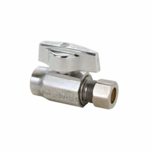 "1/2 Nom. Sweat x 3/8"" O.D. Compr. Straight Stop Valve, 1/4-Turn, Lead Free"""
