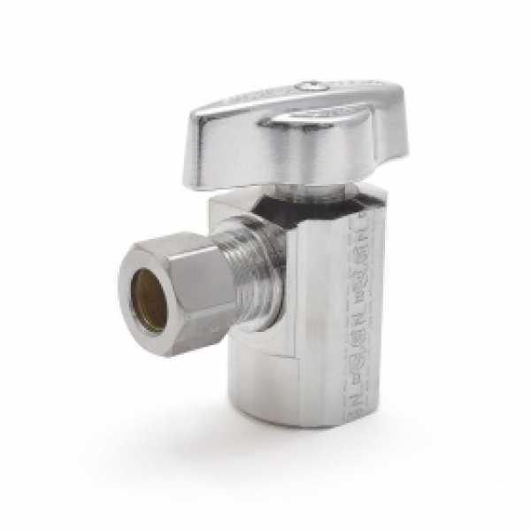 """1/2"""" FIP x 3/8"""" OD Compr. Angle Stop Valve (1/4-Turn), Lead-Free"""