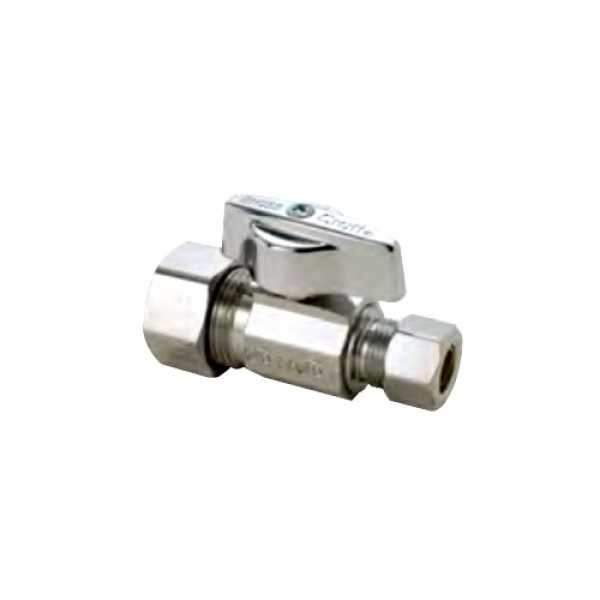 "5/8 OD Compression x 3/8"" OD Compression 1/4-Turn Straight Ball Stop Valve (Chrome Plated)"""
