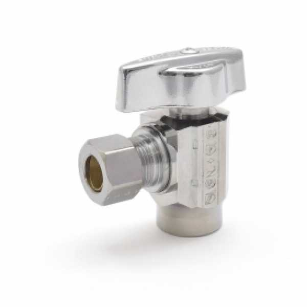 "1/2"" Sweat x 3/8"" OD Compr. Angle Stop Valve (1/4-Turn), Lead-Free"