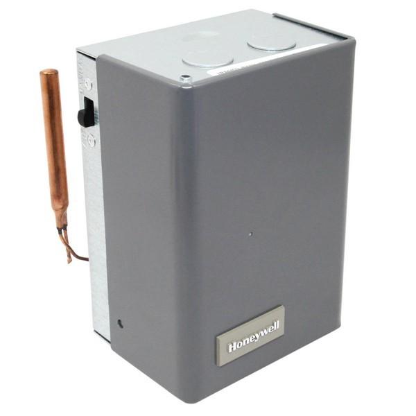 "Honeywell L8148E1265 High Limit Aquastat, 180F-240F Hi. Limit, 4 1/2""  Capilary, w/ Heat Conductor & Molex plug, Vertical Mount Mount"