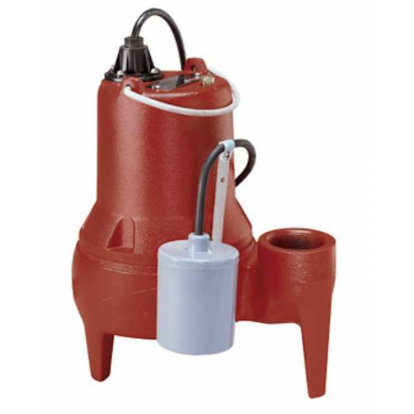 "Liberty Pumps LE51A-2 1/2 HP Automatic Sewage Pump w/ Piggyback Wide Angle Float Switch, 110V ~ 120V, 25"" cord"